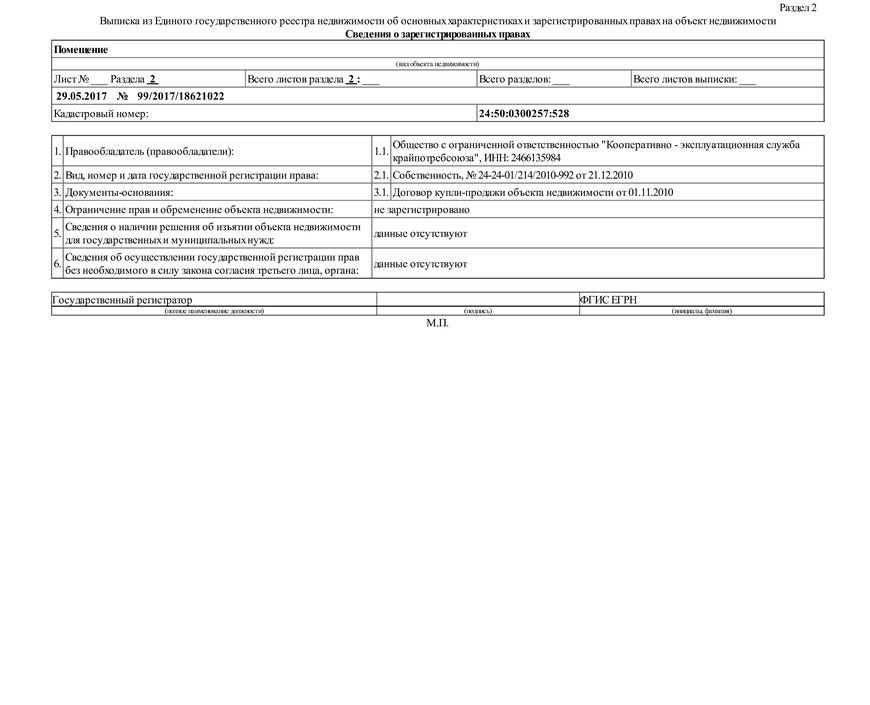 Образец стандартной выписки ЕГРН